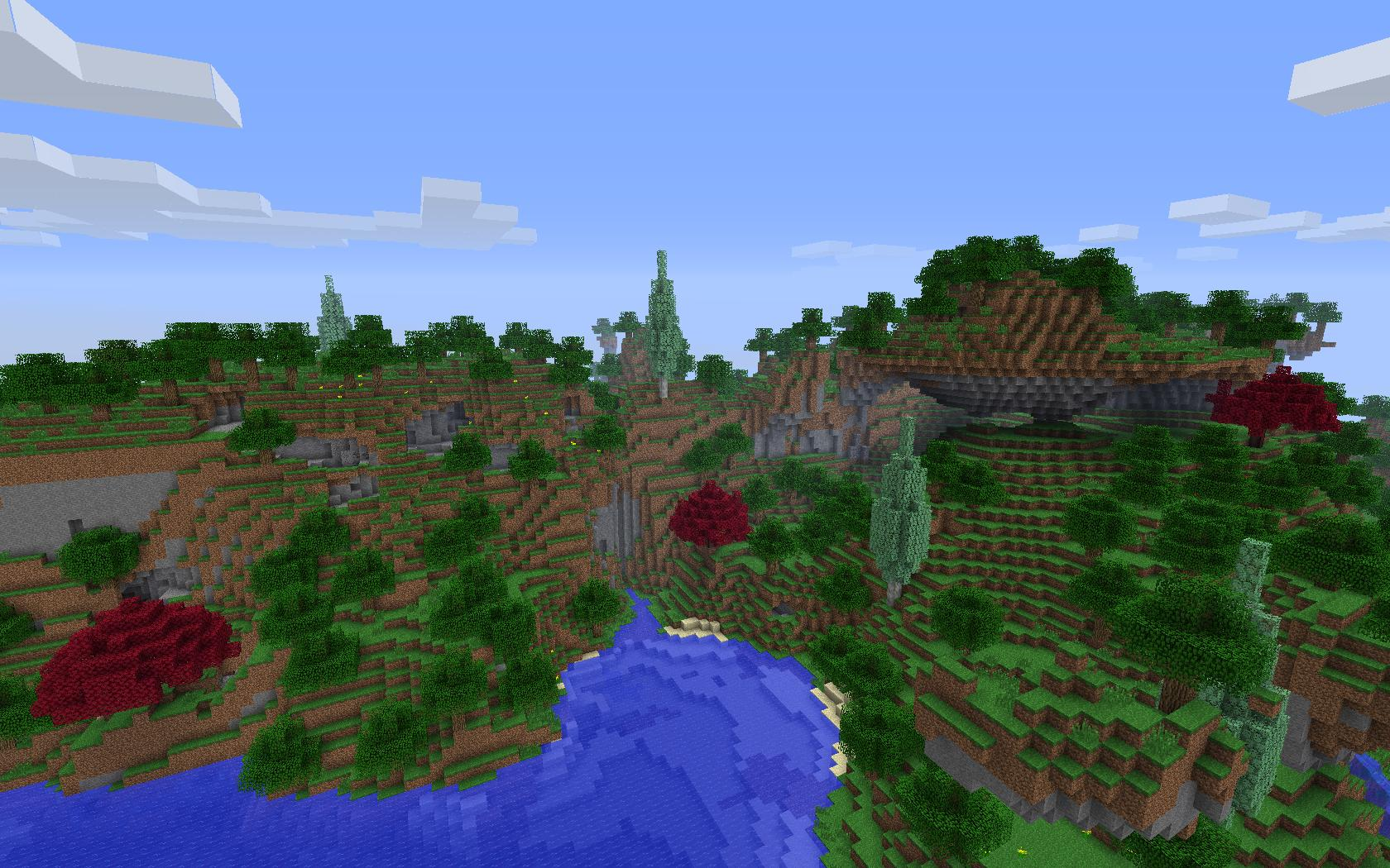 cypress tree and japanese maple tree in a forested hill biome